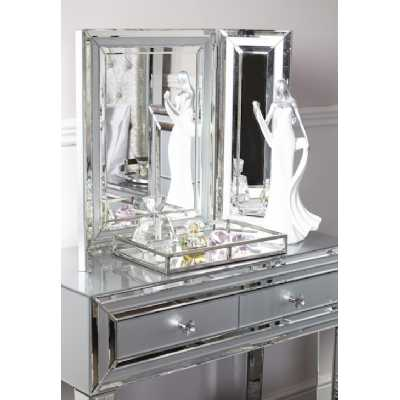 Grey City Chic Mirrored Glass Console Table With 2 Drawers