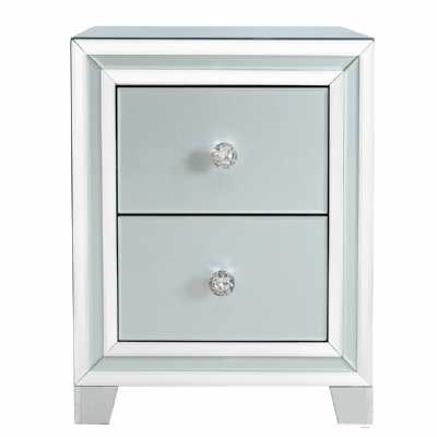 Grey London Glass Mirror 2 Drawer Bedside Cabinet