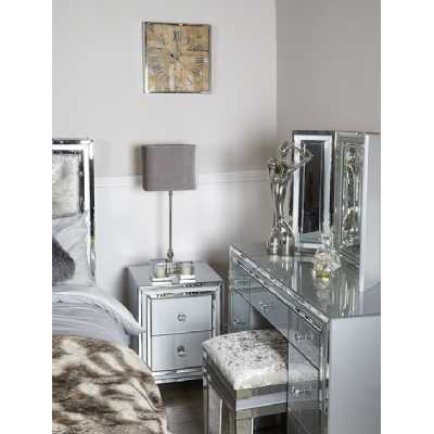 Grey and Clear London Glass Mirror 2 Drawer Bedside Cabinet