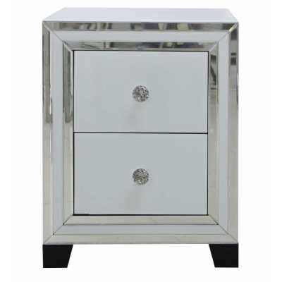 White Seattle Madison Mirrored Glass 2 Drawer Bedside Cabinet