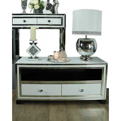 Seattle Madison White Mirror Surround 2 Drawer Entertainment Unit