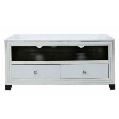 Contemporary White London Mirror Glass 2 Drawer Entertainment TV Unit