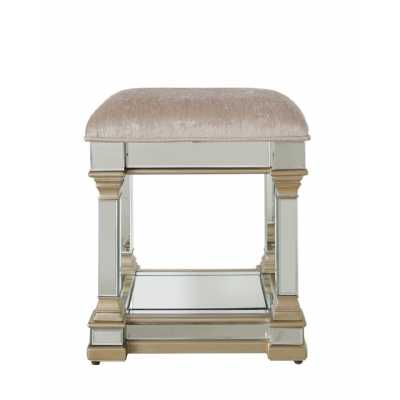 Mirrored Upholstered Champagne Gold Capello Dressing Table Stool