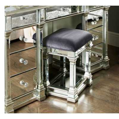 Mirrored Glass Column Madely Silver Trim Dressing Table Stool