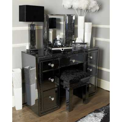 Storm Smoked Mirrored Glass 7 Drawer Dressing Table Inlaid Crystals