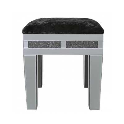 Modern Storm Smoked Mirrored Glass Stool with Black Plush Seating