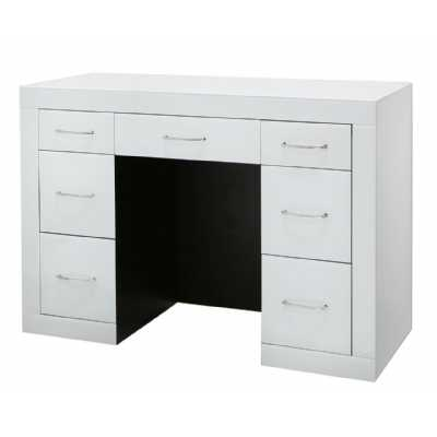 Astro White High Gloss Mirrored Glass 7 Drawer Dressing Table