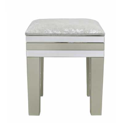 Contemporary Cream Clear Mirrored Glass Dressing Table Stool