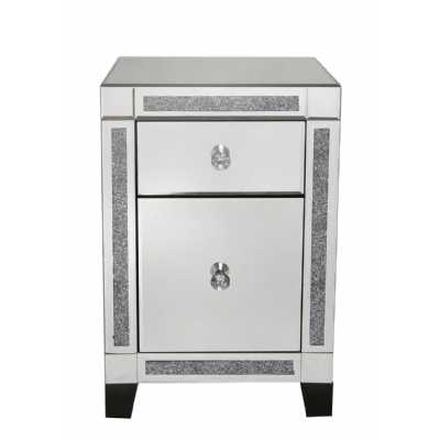 Value Fable Mirrored Glass 2 Drawer Bedside Cabinet