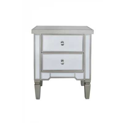 Modern Mirrored Glass Value Range 2 Drawer Bedside Cabinet with Trim