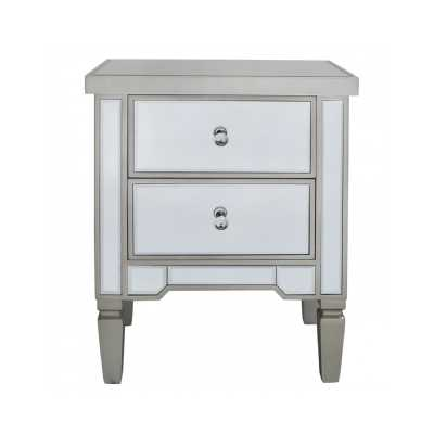 Pair of Modern Mirrored Glass 2 Drawer Bedside Cabinets with Trim