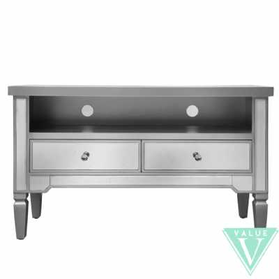 Value Vista Mirror Entertainment Unit With Silver Wooden Trim