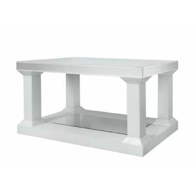 White Seattle Madison Mirror Pillar Leg Coffee Table Small
