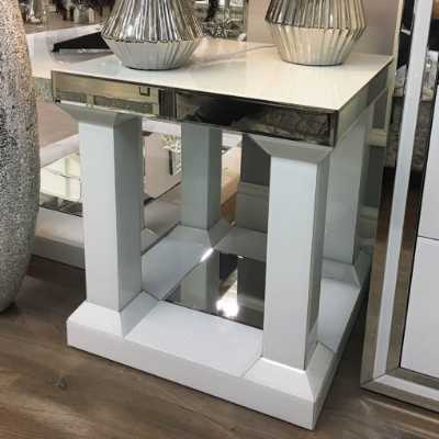 Contemporary White Mirrored Glass Pillar Leg End Table