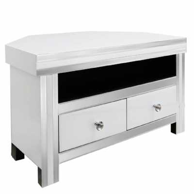 White Seattle Madison Mirrored Glass Corner Entertainment Media Unit
