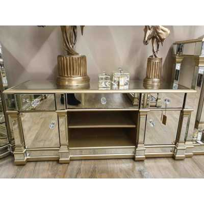 Champagne Gold Mirrored Glass TV Entertainment Media Unit