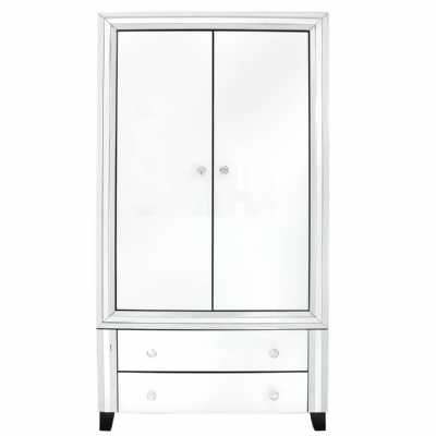 White Seattle Madison Mirrored Glass 2 Door Wardrobe with 2 Drawers