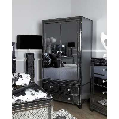 Storm Smoked Mirrored Glass 2 Door Double Wardrobe with Drawers