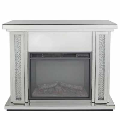 Modern Mirrored Glass Gems Electric Fire with Fire Surround Set