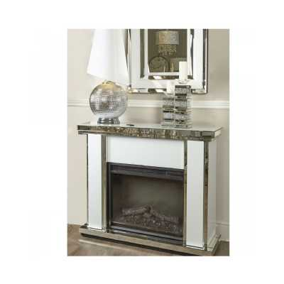 White Glass Fire Surround With Electric Fire Set