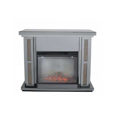 Smoked Glitz Copper Fire Surround With Electric Fire set