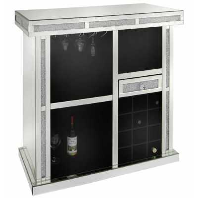 Crystal Diamond Wine Bar Mirrored Glass with 1 Drawer