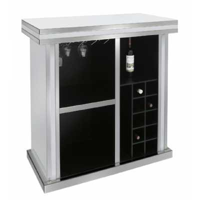 Modern Premium White Seattle Madison Mirror 2 Door Wine Bar Cabinet