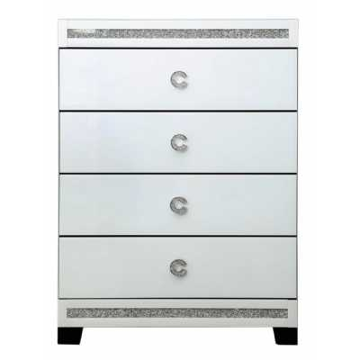White Cleo Mirrored 4 Drawer Chest of Drawers with Crystal C Handles