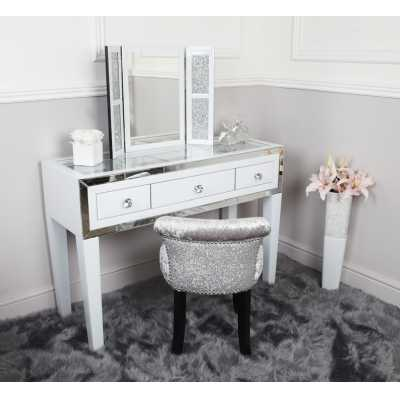 White London Glass Mirror 3 Drawer Dressing Table with Clear Glass Top