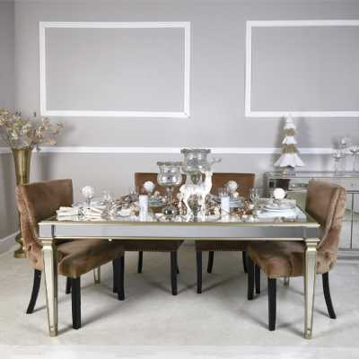 Large Champagne Gold Mirrored Glass Dining Table