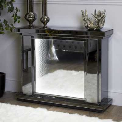 Infinity Aurora Smoked Grey Mirrored Fire Surround with LED Lights