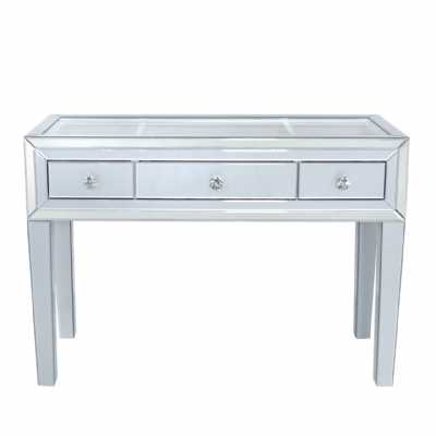 Grey London Glass Mirror 3 Drawer Dressing Table