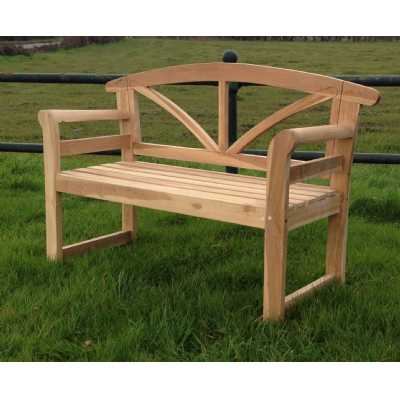 Arizona Curved Back Garden Bench Slatted Teak Garden Seating