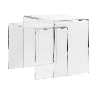 Set of 2 Contemporary Clear Acrylic Side Tables