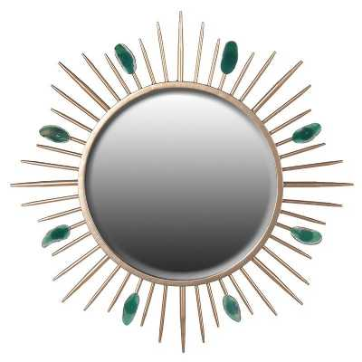 Trending Round Sunburst Gold Mirror With Green Agate Stones