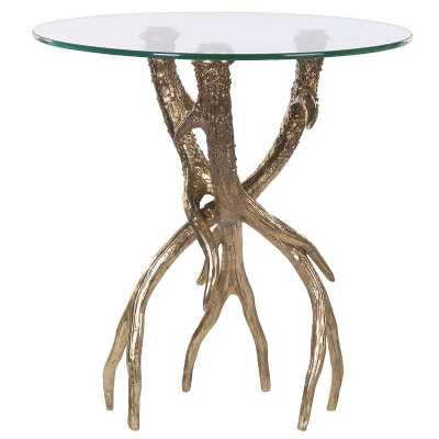 Round Glass top Side Lamp Table with Gold Antler Legs