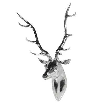 Large Decorative Silver Plated Deer Head Wall Mount with Antlers