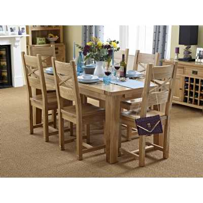 Modern Oak Extending Dining Set 1 Table with 6 Chairs Kitchen Farmhouse Style