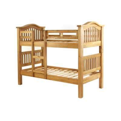 Solid Oak 3ft Single 90cm Bunk Bed with Slatted Head and Foot Board