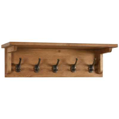 Vancouver Petite Waxed Oak Coat Wall Rack with 5 Hooks
