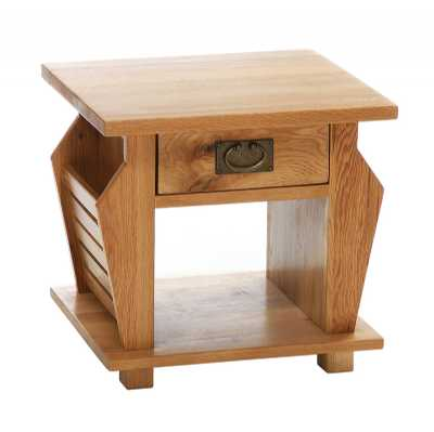Vancouver Petite Oak Magazine Storage Rack Lamp Table with 1 Drawer
