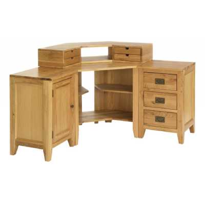 Modern Oak 3 Drawer Corner Desk Unit with 4 Drawer Stand and 1 Door Cupboard