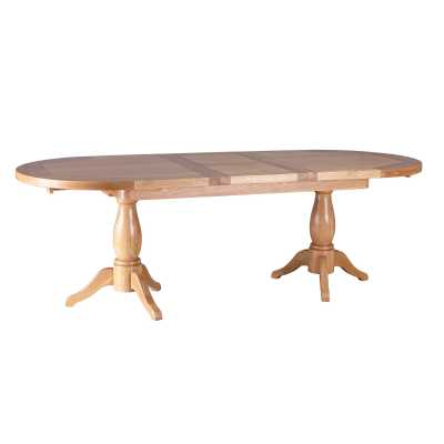 Modern Farmhouse Oak Extending Dining Table with Twin Pedestals 1.9 2.4