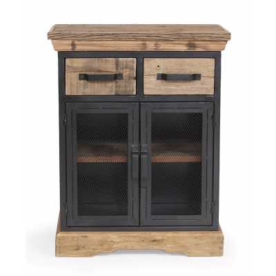 Cosgrove Iron And Wood 2 Drawer 2 Door Storage Cabinet With A Shelf