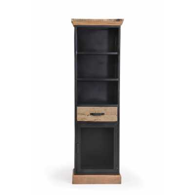 Cosgrove Iron And Wood 2 Shelf 1 Drawer Tall Storage Display Cabinet