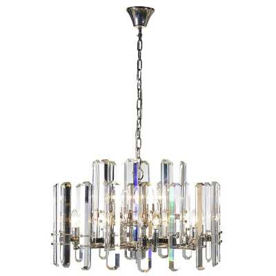 Modern Crystal Tiered Long Chandelier