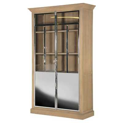 Modern Oak Mirrored Polished Chrome 2 Door Glass Cabinet with Shelves