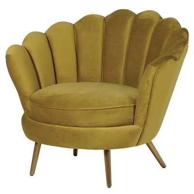 Trending Golden Mustard Plush Fabric Petal Back Curved Armchair