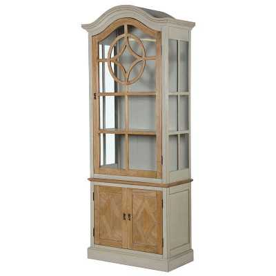 French Style Hampshire Oak and Grey Painted Glazed Display Cabinet
