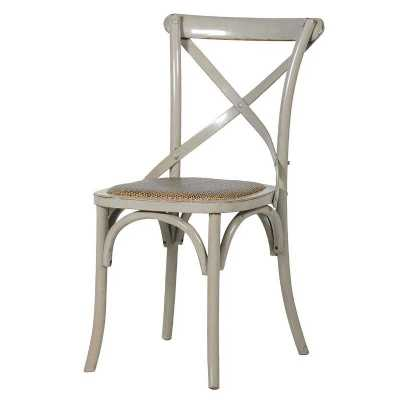 Hampshire X Back Grey Painted Dining Chair with Rush Seat